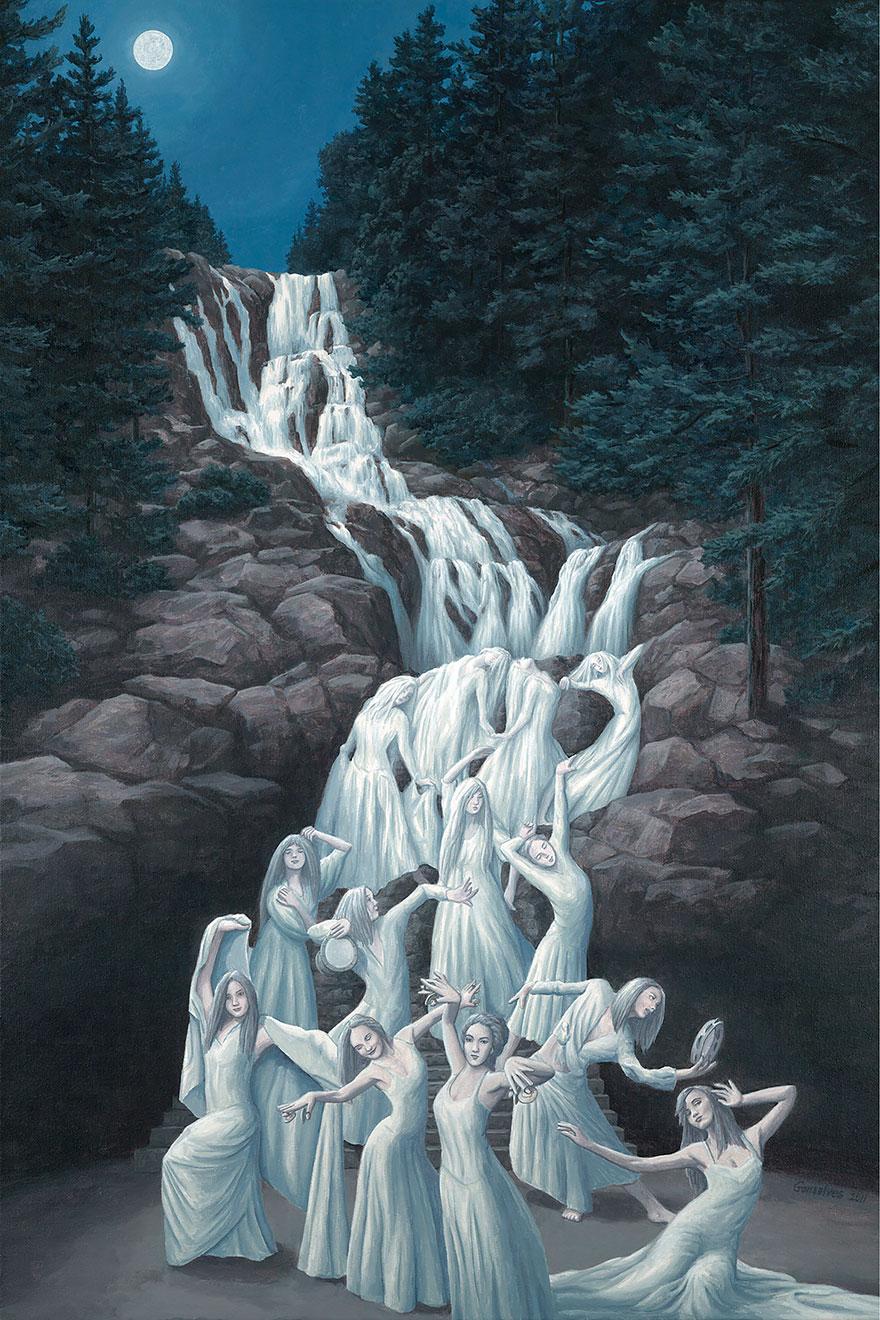I fantastici dipinti con illusioni ottiche di rob gonsalves for Quadri illusioni ottiche