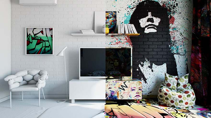 stanza metà bianca metà graffiti