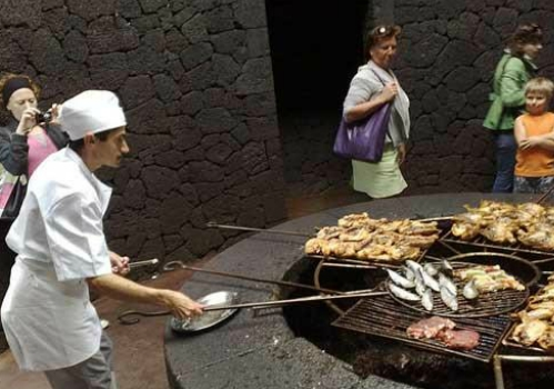 cibo cotto dal vulcano