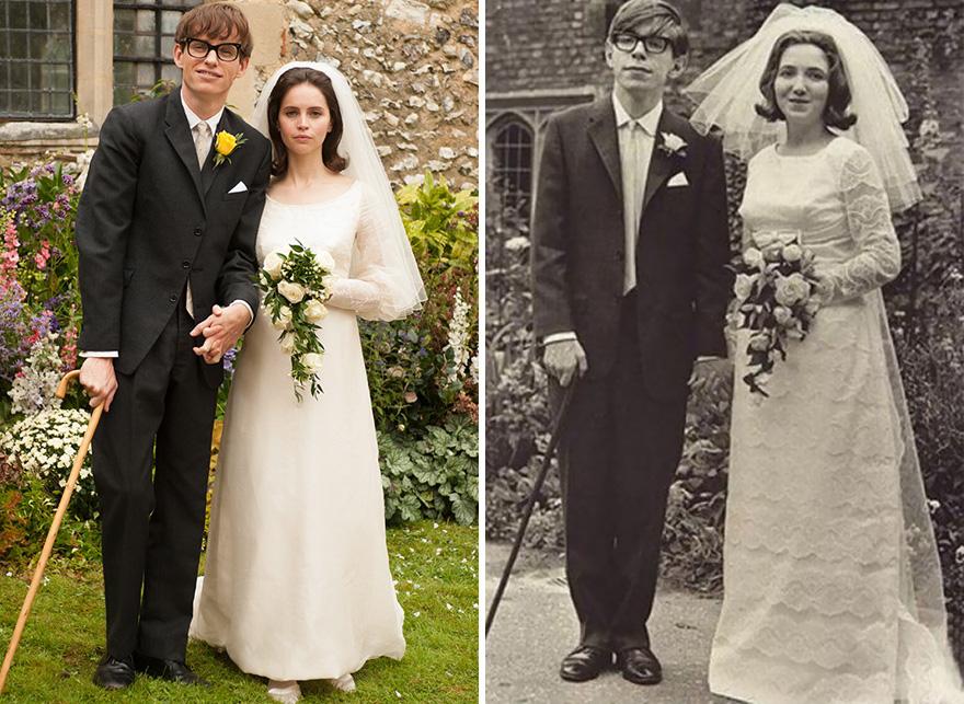 Eddie Redmayne e Felicity Jones che interpretano Stephen Hawking e sua moglie Jane Wilde in La Teoria del tutto