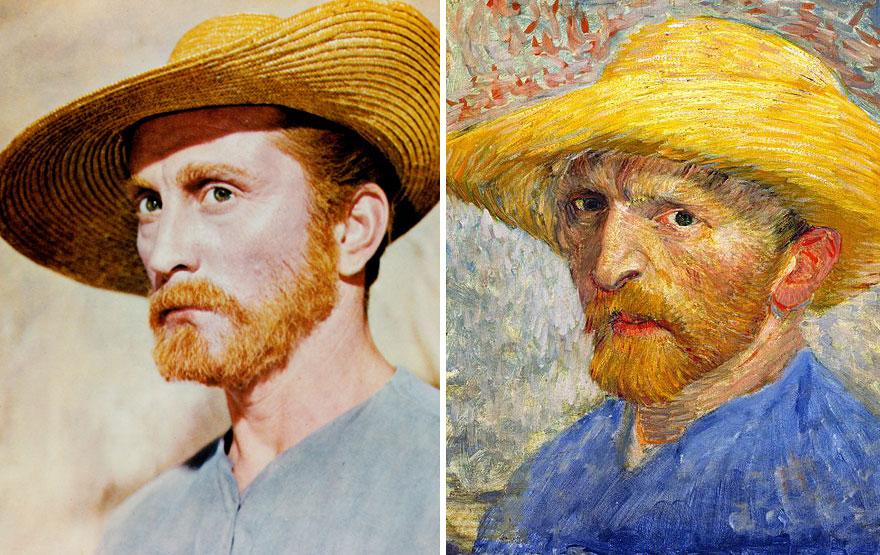 Kirk Douglas che interpreta Vincent Van Gogh in Brama di Vivere