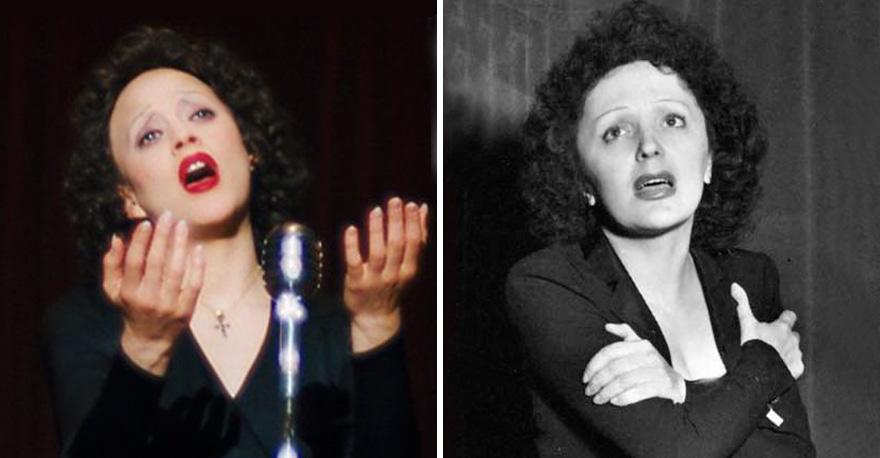 Marion Cotillard che interpreta Édith Piaf in La Vie en Rose