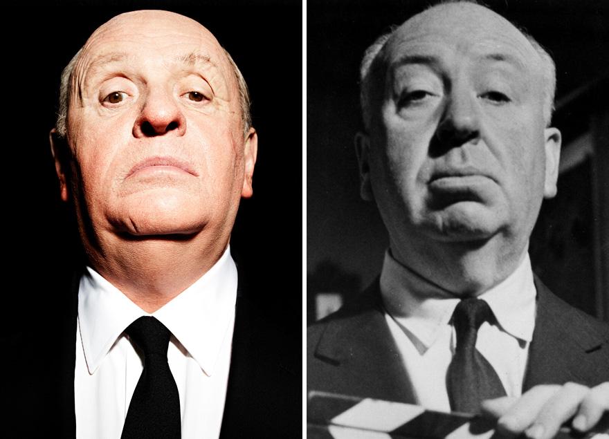 Anthony Hopkins che interpreta Alfred Hitchcock In Hitchcock