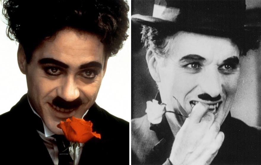 Robert Downey Jr. che interpreta Charlie Chaplin in Chaplin