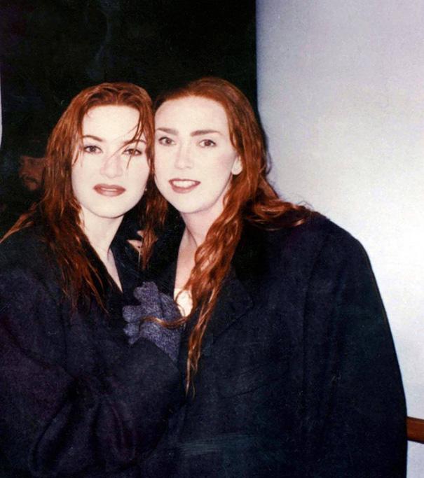 Kate Winslet e controfigura sul set di Titanic