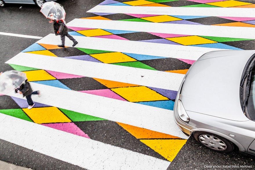 strisce pedonali Madrid, colorate