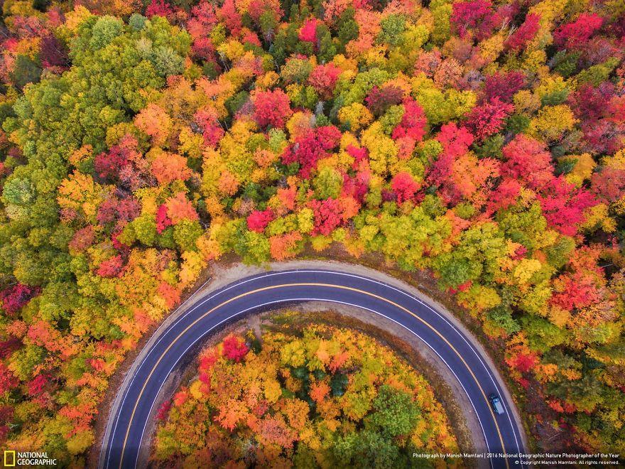 Vista aerea dell'autunno nel New Hampshire