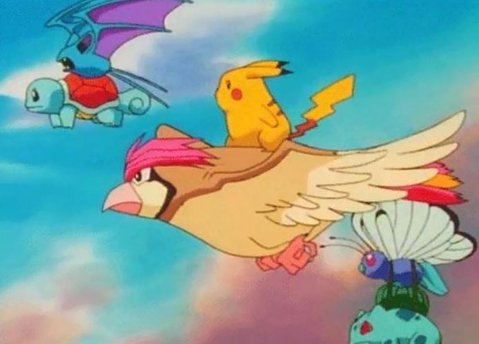 Zubat che porta in volo Squirtle pur non avendo arti