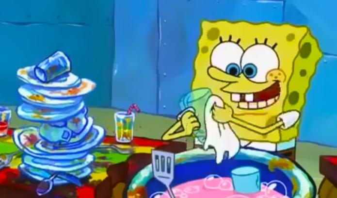 Spongebob, una spugna che lava i piatti