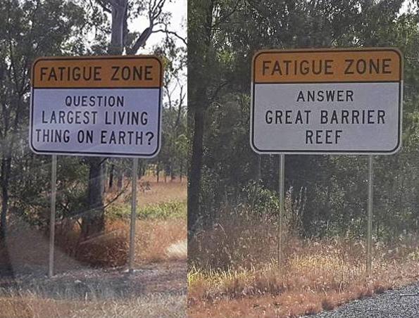 cartelli con curiosità sulle strade australiane