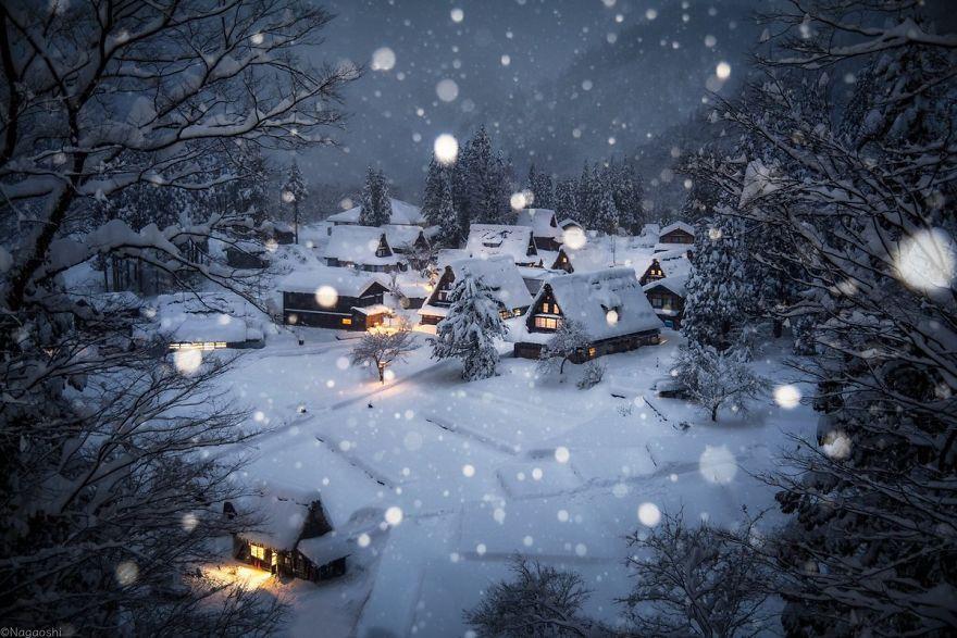 Paesaggi del Giappone in inverno