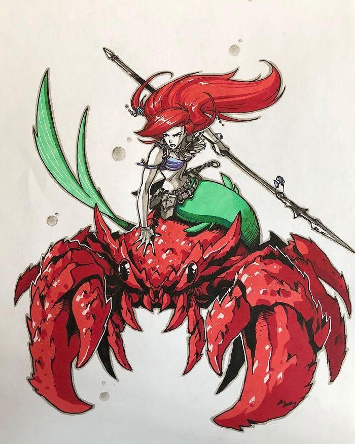 Ariel che cavalca Sebastian verso la battaglia