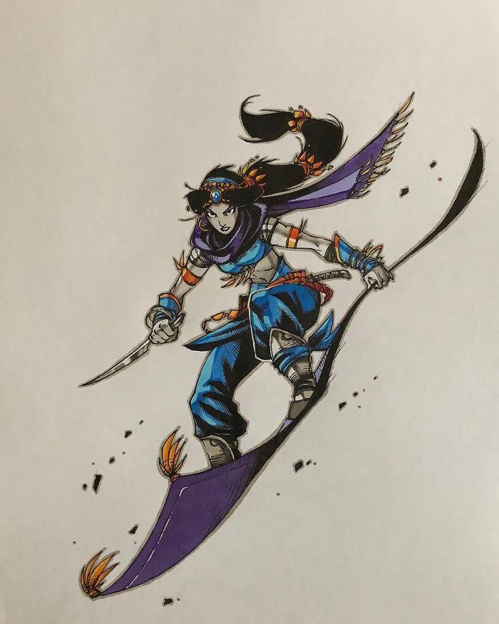 Jasmine che vola in battaglia sul suo tappeto