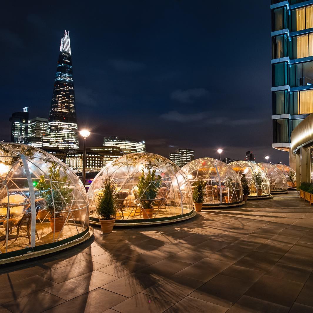 Coppa Club bolle riscaldate di Londra per cena all'aperto