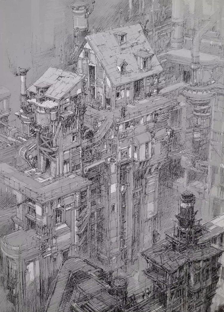 Disegni città futuristica
