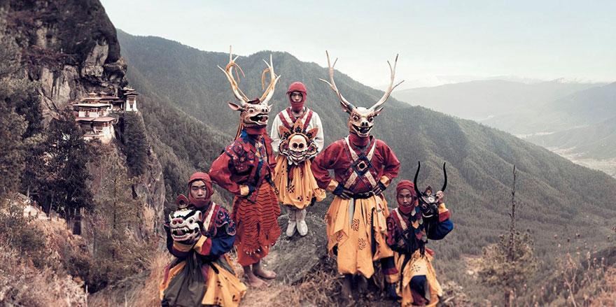 Danzatori mascherati, Paro, Bhutan