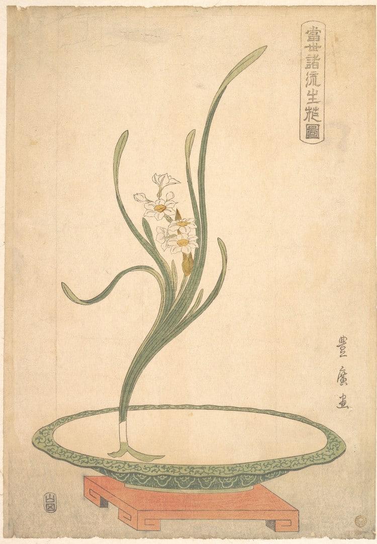 Suisen (Narciso) in a Flat Green Dish, di Utagawa Toyohiro. Periodo Edo.