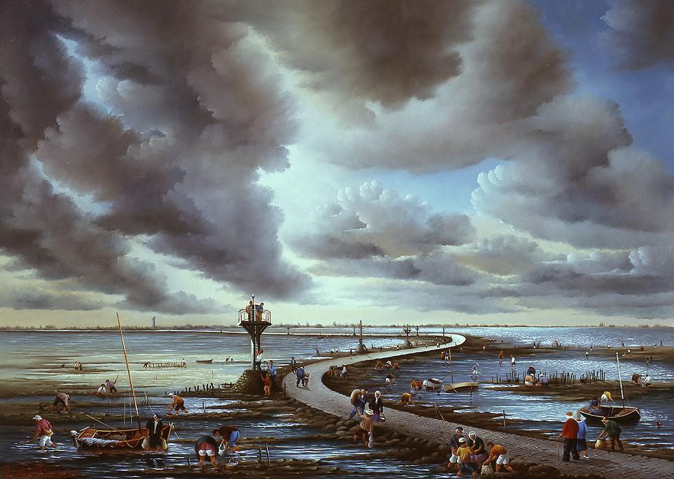 Noirmoutier-Le passage du Gois del pittore francese Raphaël Toussaint