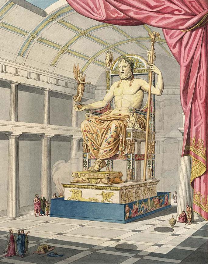 La Statua di Zeus in un'illustrazione di Antoine Chrysostome Quatremère de Quincy (1815)