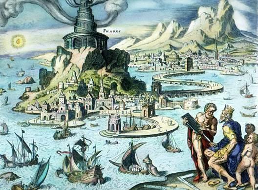 Il faro di Alessandria in un'illustrazione di Maarten van Heemskerck.