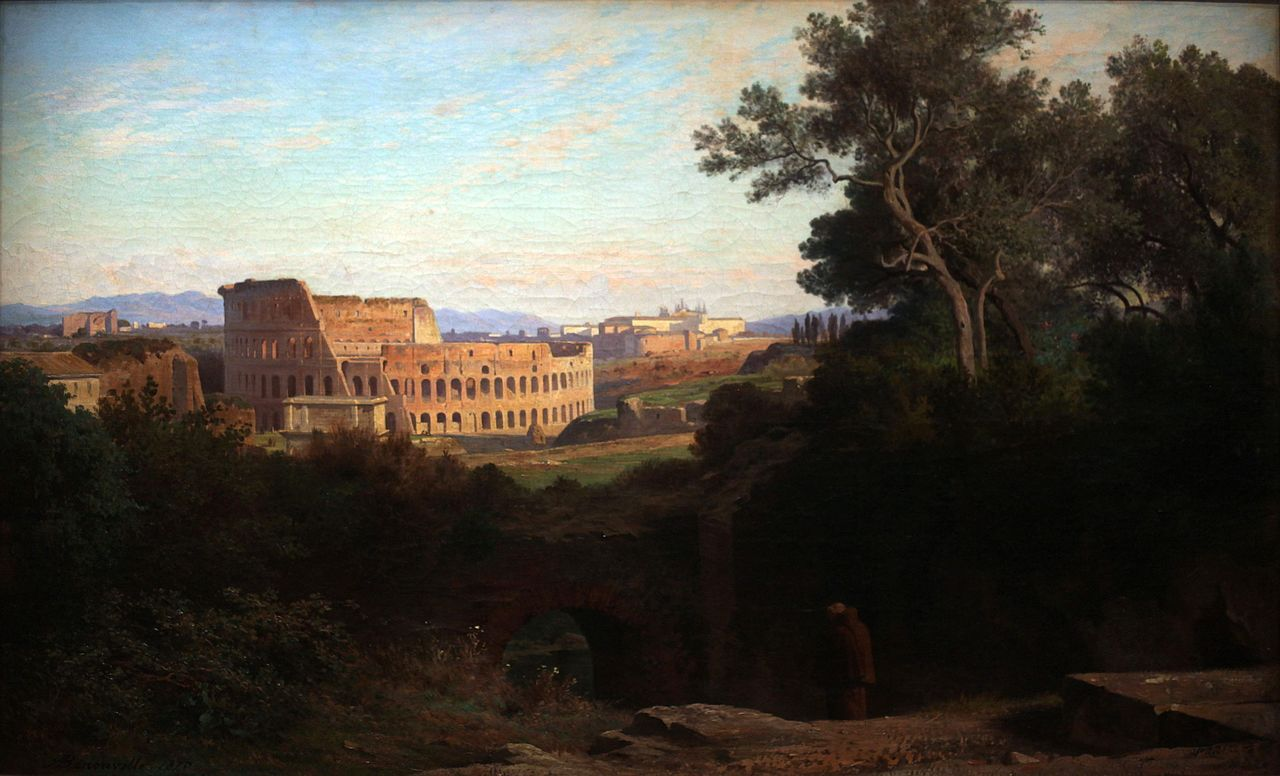Il Colosseo visto dal colle Palatino in un dipinto di Jean-Achille Benouville (1870)
