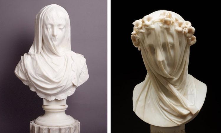 """Sinistra: Pietro Rossi, """"Dama Velata"""" 1882 (foto: The Gibbes Museum of Art Public Domain) Destra: Raffaelo Monti. """"Dama Velata"""" c. 1860 (foto: Minneapolis Institute of Art Public Domain)"""