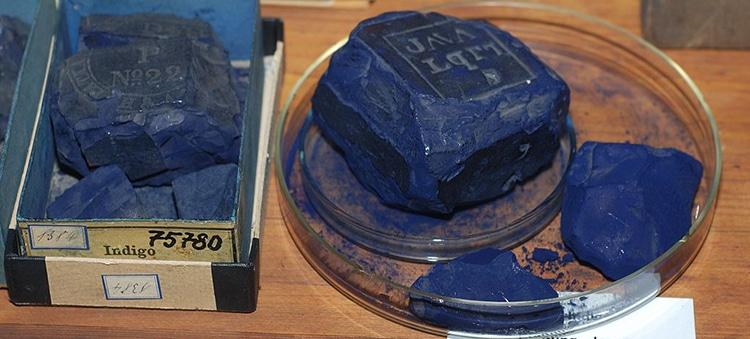 Collezione storica di tinture indaco conservate all'Università di Dresda, Germania