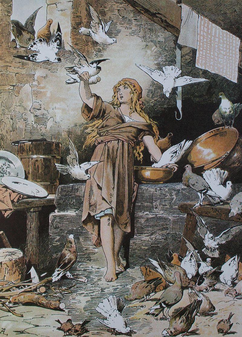 Cenerentola e le colombe raffigurate da Alexander Zick  (1845 - 1907).
