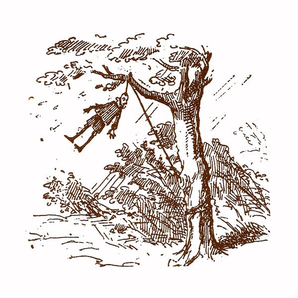 Enrico Mazzanti. Illustrazione per l'edizione del 1883: Pinocchio impiccato alla quercia grande.