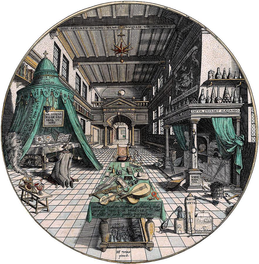 Il laboratorio dell'alchimista, Hans Vredeman de Vries (1595)