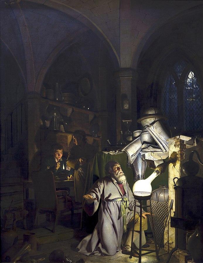 Joseph Wright of Derby, L'alchimista scopre il fosforo cercando la Pietra Filosofale (1771)