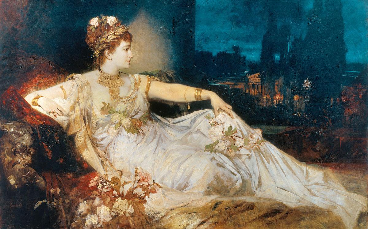 L'attrice Charlotte Wolter ritratta come Messalina da Hans Makart