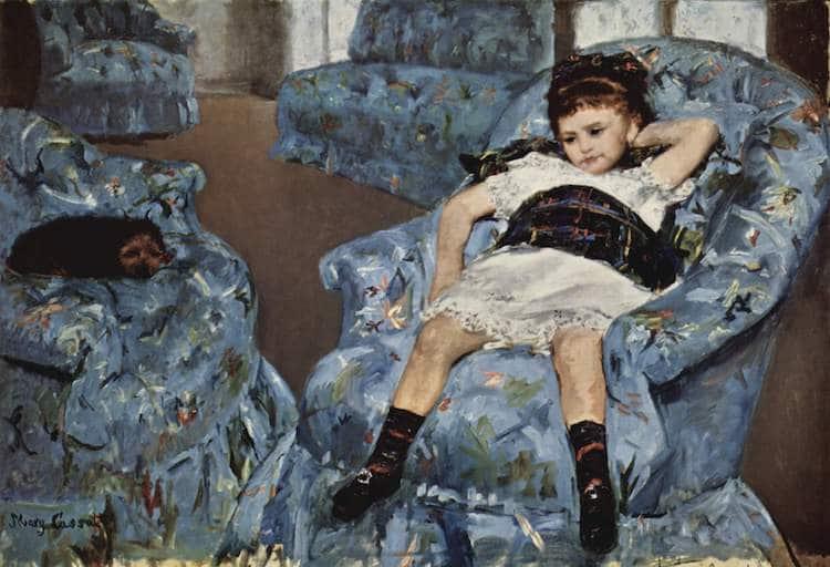 Mary Cassatt, Bimba su una poltrona blu  (1878)