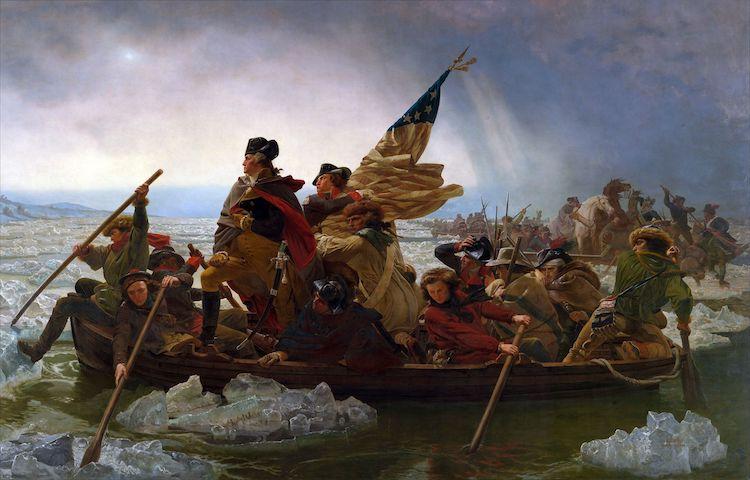 Washington attraversa il fiume Delaware di Emanuel Leutze