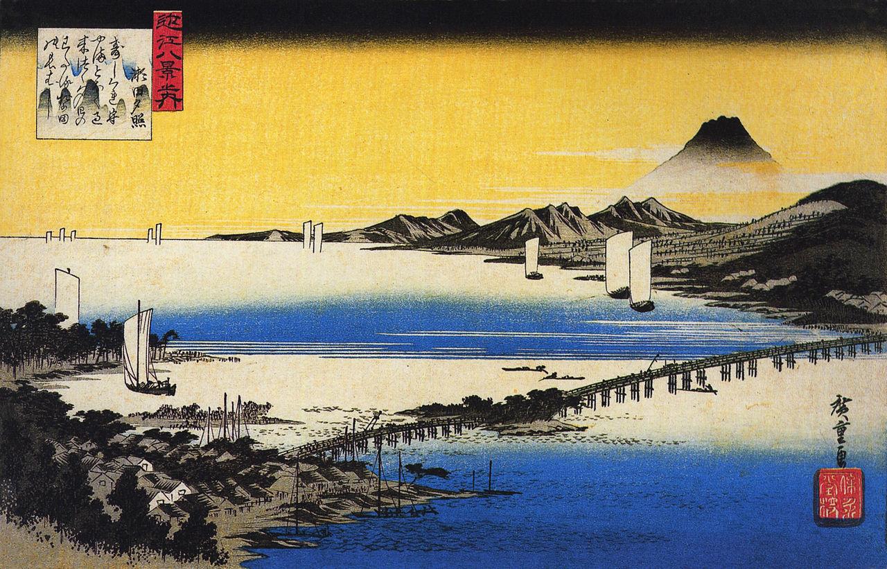 Bagliori del tramonto a Seta. Del maestro di ukiyo-e Hiroshige