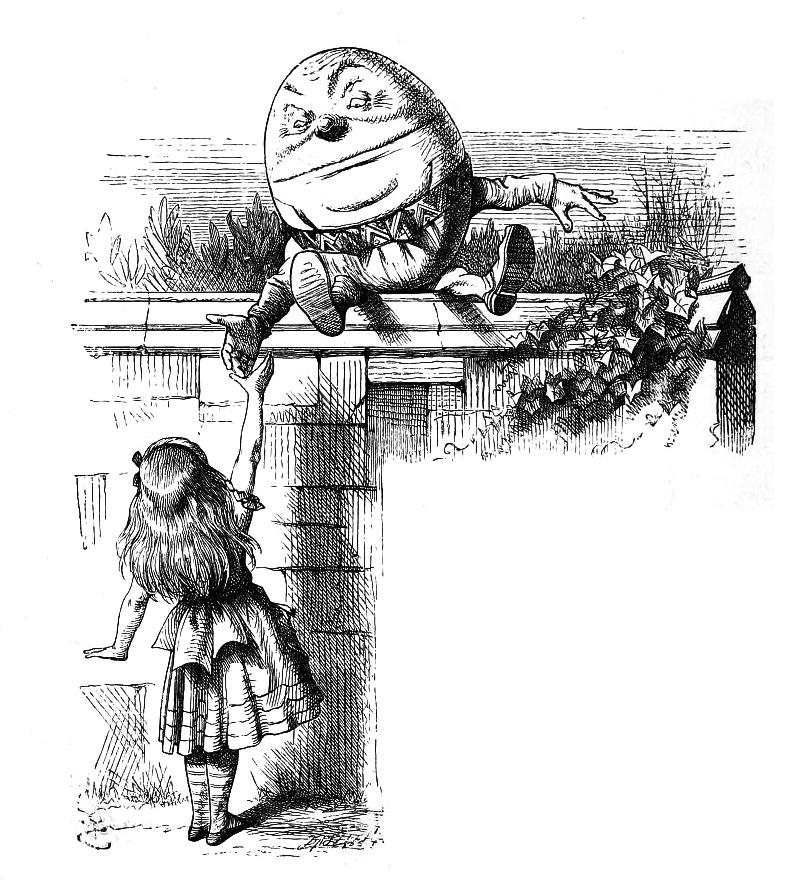 Humpty Dumpty disegnato per Attraverso lo Specchio, John Tenniel, 1871