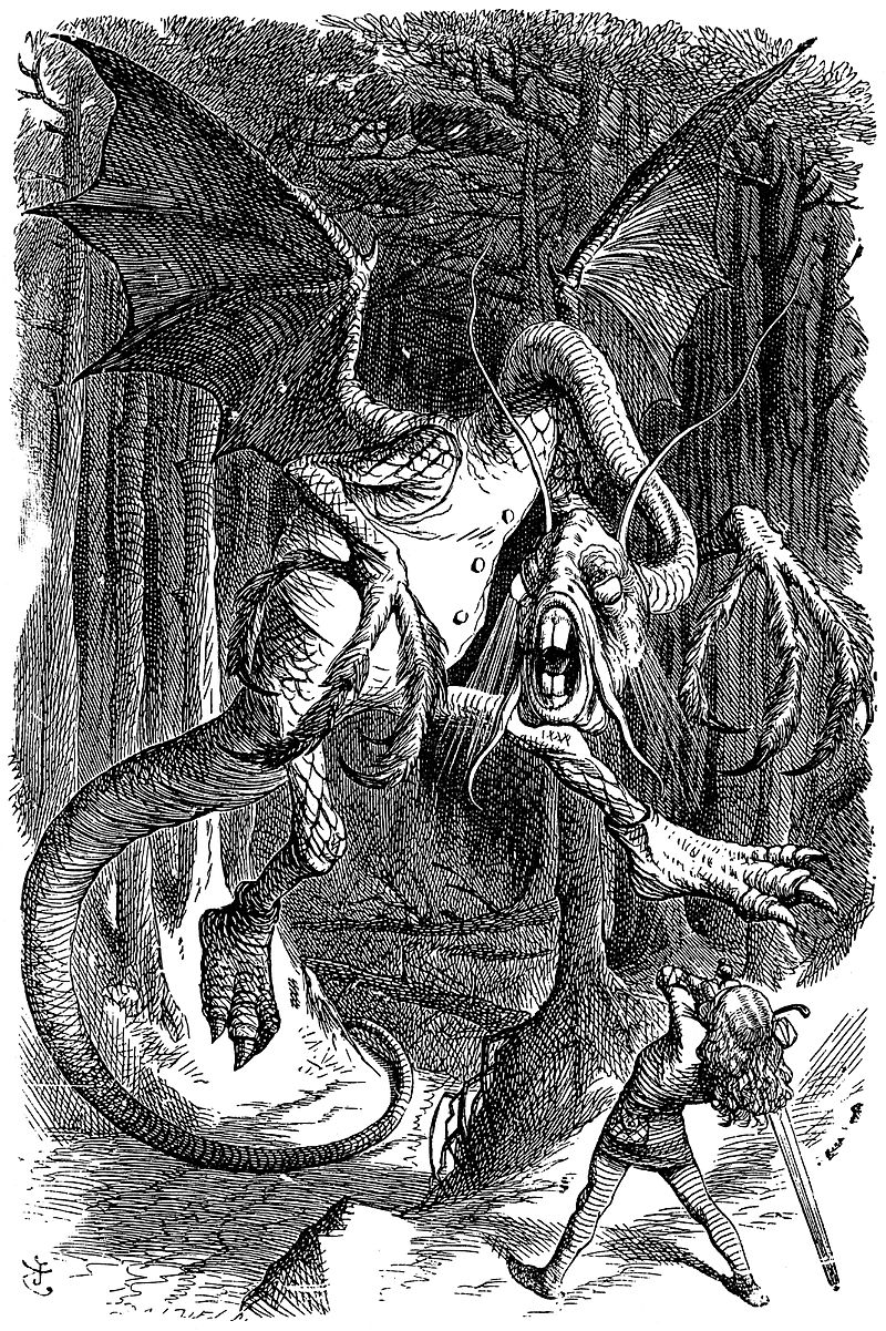 Il Jabberwocky disegnato per Attraverso lo Specchio, John Tenniel, 1871