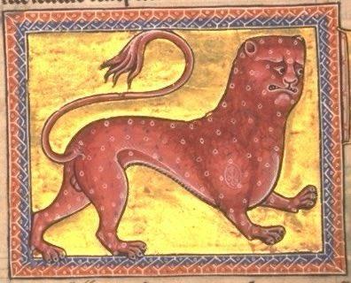 Un leopardo chiaramente infastidito dal modo in cui è rappresentato. Dal Bestiario Aberdeen